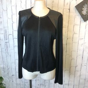 NEW Barney New York black knit and leather jacket
